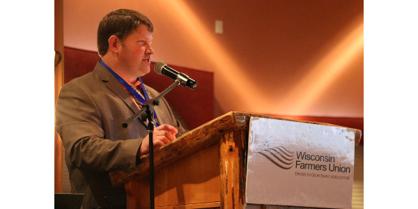 Wisconsin Farmers Union President Darin Von Ruden gave his address Feb. 3 at the family farm organization's 87th Annual State Convention. (Photo by Danielle Endvick)