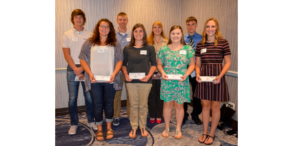 East Central/Select Sires presented eight, $1,000 scholarships to college students pursuing education in agricultural-related fields. Back row, left to right: Brady Butzler, Rockland; Ben Bruss, Markesan; Whitney Brown, Belleville; and Levi Kindschi, Loganville. Front row, left to right: Kailyn Ripp, Dane; Rachel McCullough, Juda; Jessica Steger, Prairie du Chien; and Lindsey Sarbacker, Edgerton. (Courtesy of East Central/Select Sires)