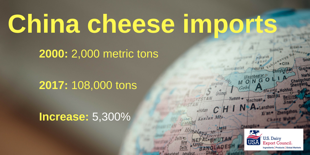 Chinese cheese imports2000_ 2,000 metric tons2017_ 108,000 tons in 2017Increase_ 5,300Add subheading
