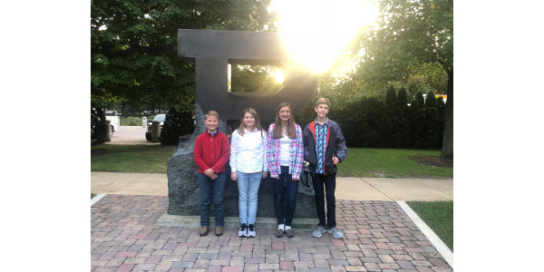 State Contest Team: (L to R) Oliver Nisen, Kate Wendzonka, Lydia Nisen, and Ethan Sutton. (Courtesy of Purdue Extension Elkhart County)